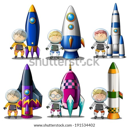Illustration of the explorers beside the rockets on a white background - stock vector