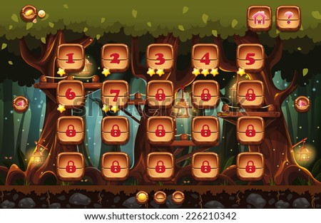 Illustration of the fairy forest at night with flashlights and examples of screens, buttons, bars progression for computer games and web design. Set 4. - stock vector