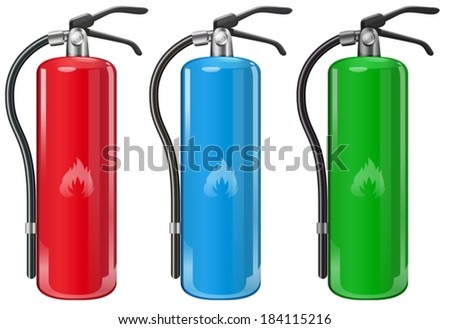 Illustration of the fire extinguishers on a white background - stock vector