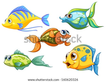 Illustration of the five colorful fishes on a white background - stock vector