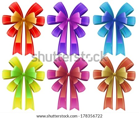 Illustration of the five colorful ribbons on a white background