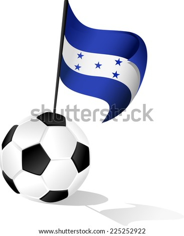 Illustration of the Flag  of Honduras coming out of a soccer ball or football. - stock vector
