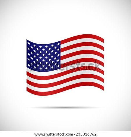 Illustration of the flag of United States of America isolated on a white background. - stock vector