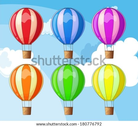 Illustration of the floating balloons - stock vector
