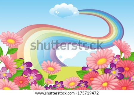 Illustration of the flowers at the hilltop and a rainbow in the sky - stock vector