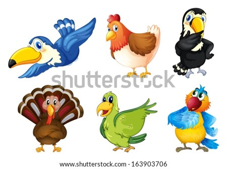 Illustration of the flying birds on a white background - stock vector