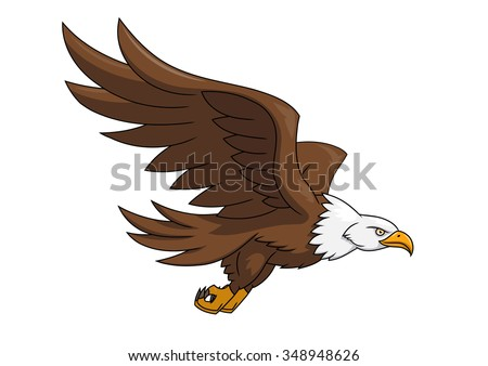 Illustration of the flying eagle on white background - stock vector