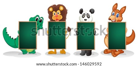 Illustration of the four animals forming a line with empty blackboards on a white background  - stock vector