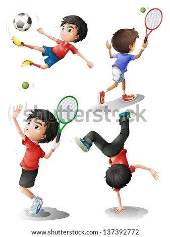 Illustration of the four boys playing different sports on a white background - stock vector