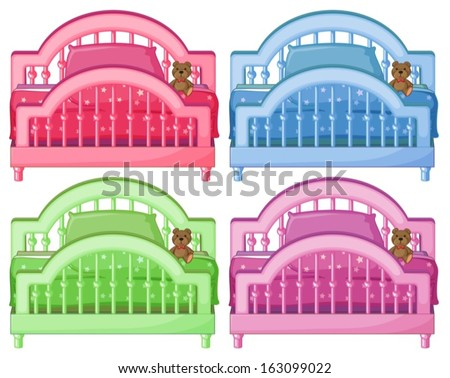Illustration of the four colorful beds on a white background - stock vector