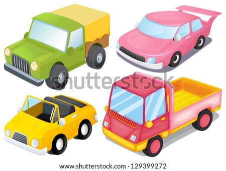 Illustration of the four colorful vehicles on a white background - stock vector