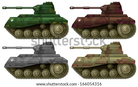 Illustration of the four combat tanks on a white background - stock vector