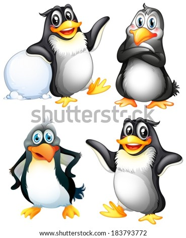 Illustration of the four playful penguins on a white background - stock vector