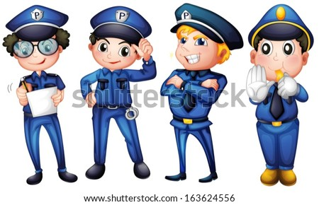 Illustration of the four policemen on a white background - stock vector