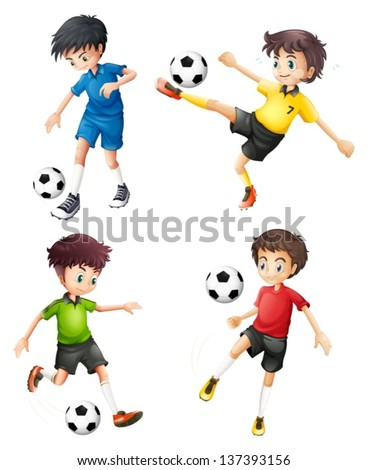 Illustration of the four soccer players in different uniforms on a white background - stock vector