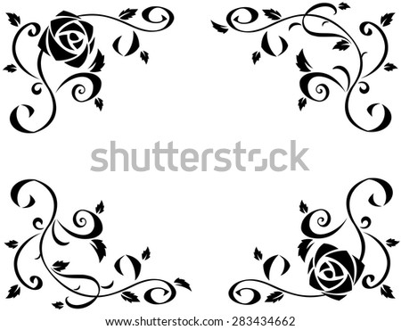 Illustration of the frame with beautiful rose flowers black silhouette on white background - stock vector