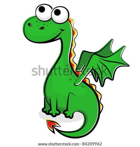 Illustration of the funny green dragon - stock vector