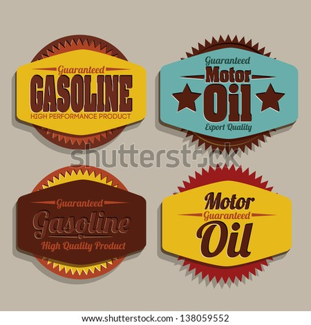 Illustration of the gasoline industry, motor oil label, vector illustration - stock vector