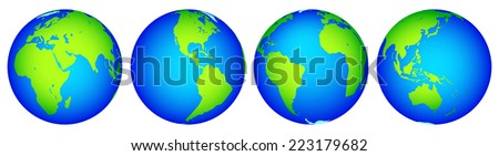 Illustration of the globes hemisphere collection. Elements of this image furnished by NASA  - stock vector