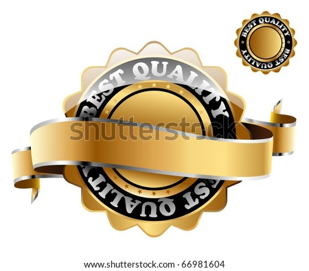 Illustration of the golden mark of best quality. Vector.