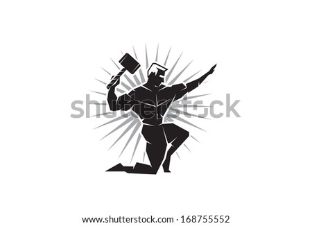 Illustration of the Greek God Thor throwing hammer from the front - stock vector