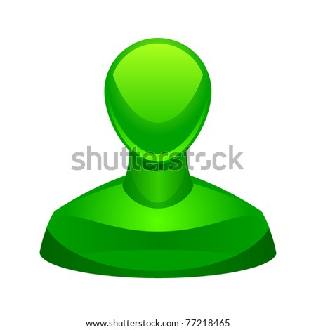 Illustration of the green user icon - stock vector