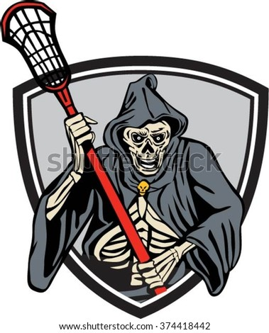 Illustration of the grim reaper lacrosse player holding a crosse or lacrosse stick pole viewed from front set inside crest shield done in retro style. - stock vector