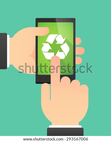 Illustration of the hands of a man using a phone showing a  recycle sign - stock vector