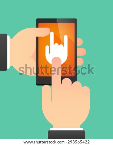 Illustration of the hands of a man using a phone showing a rocking hand - stock vector