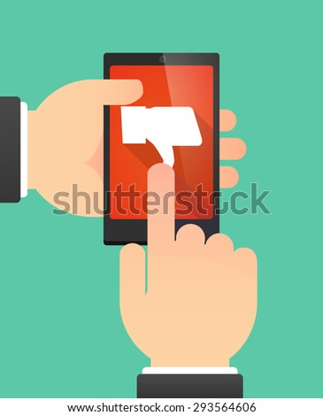 Illustration of the hands of a man using a phone showing a thumb down hand - stock vector