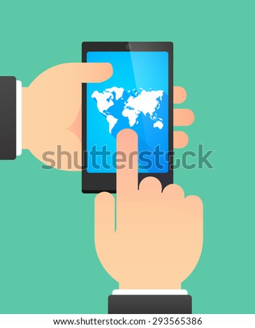 Illustration of the hands of a man using a phone showing a world map