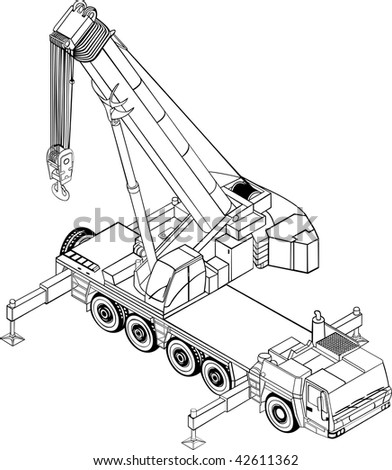 Illustration of the heavyweight lifting crane - stock vector