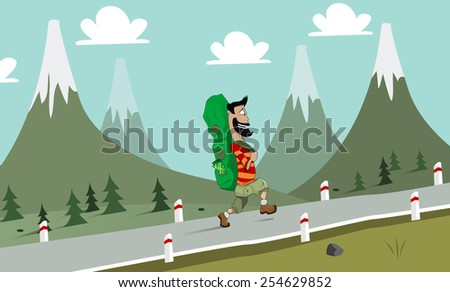 Illustration of the hiking man. Vector  - stock vector