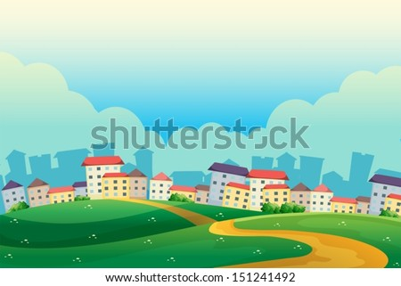 Illustration of the hills near the village - stock vector