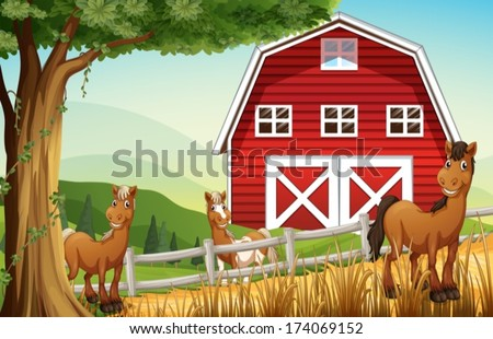 Illustration of the horses at the farm near the red barnhouse - stock vector