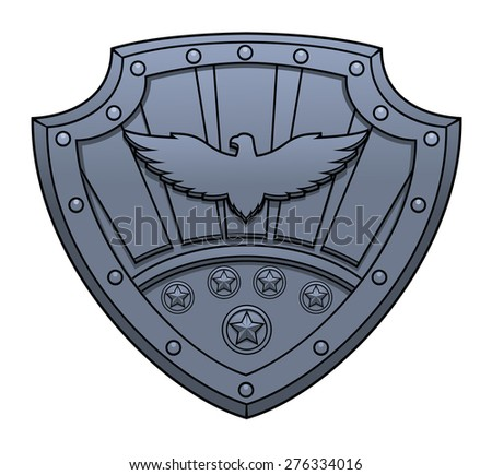 Illustration of the iron sign with eagle on shield - stock vector