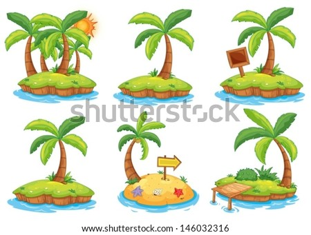 Illustration of the islands with different signs on a white background  - stock vector