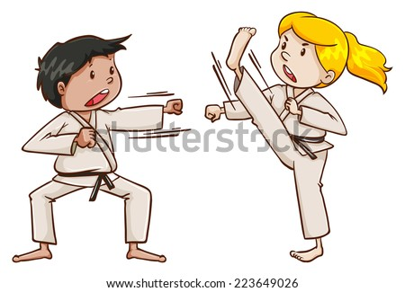 ... of the kids doing martial arts on a white background - stock vector