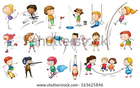 Illustration of the kids engaging in different sports on a white background - stock vector