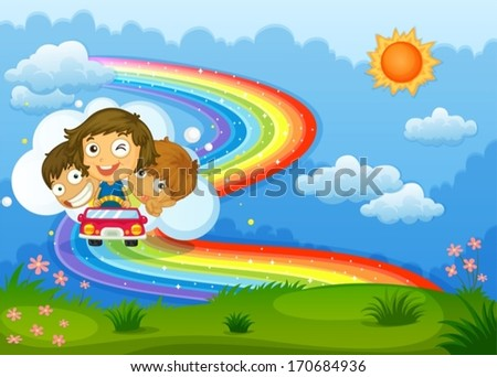 Illustration of the kids riding on a vehicle passing through the rainbow - stock vector