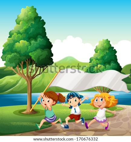 Illustration of the kids running near the riverbank while bringing an empty banner - stock vector