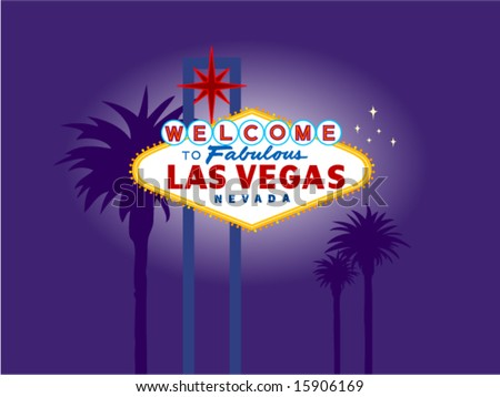 Illustration of the Las Vegas Welcome Sign at Night with Palm Trees in the Background. Palm Trees on a separate layer for easy removal. - stock vector