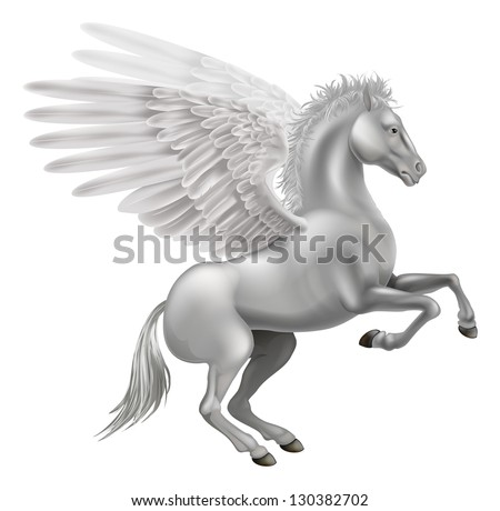 Illustration of the legendary winged horse from Greek mythology, Pegasus - stock vector