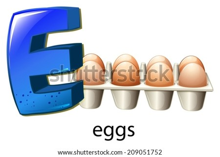 Illustration of the letter E on a white background - stock vector