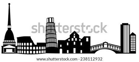 illustration of the main attractions of Italy. - stock vector