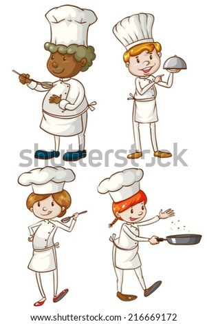 Illustration of the male and female chefs on a white background - stock vector