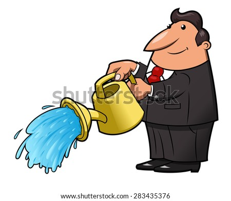 Illustration of the Man with yellow watering can pouring water - stock vector