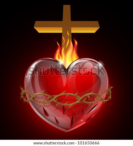 Illustration of the Most Sacred Heart of Jesus. A bleeding heart with flames, pierced by a lance wound with crown of thorns and cross. - stock vector