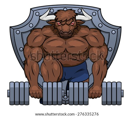 Illustration of the muscular bull lifting dumbbells - stock vector