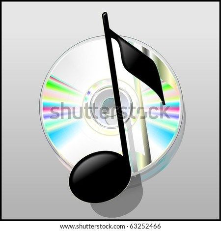 Illustration of the musical note and cd disk. Vector - stock vector
